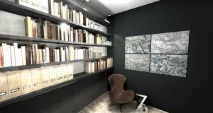 aranżacja biura z biblioteczką