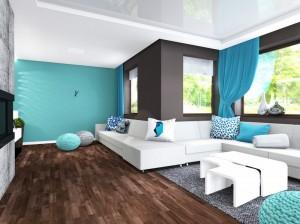 kanapa narożna U, salon turkus, 2 piętro 2