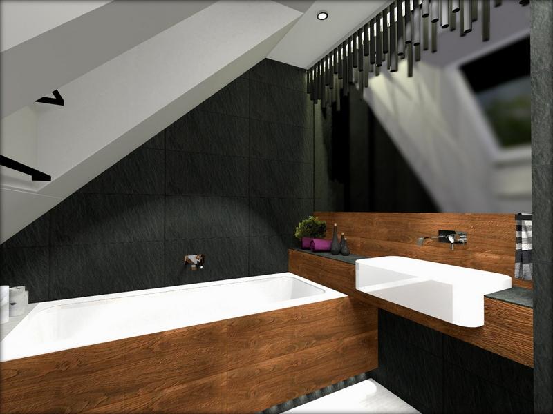 łazienka z drewnem, łazienka czarno brązowa, 2 piętro 1