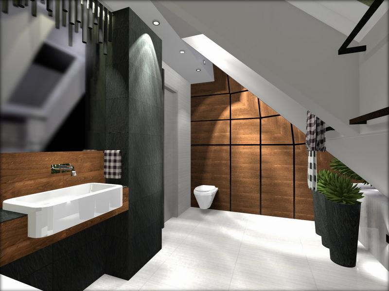 łazienka z drewnem, łazienka czarno brązowa, 2 piętro 2