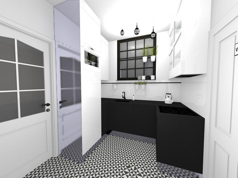 kuchnia czarno - biała, przedpokój czarno - biały, 2 piętro 1