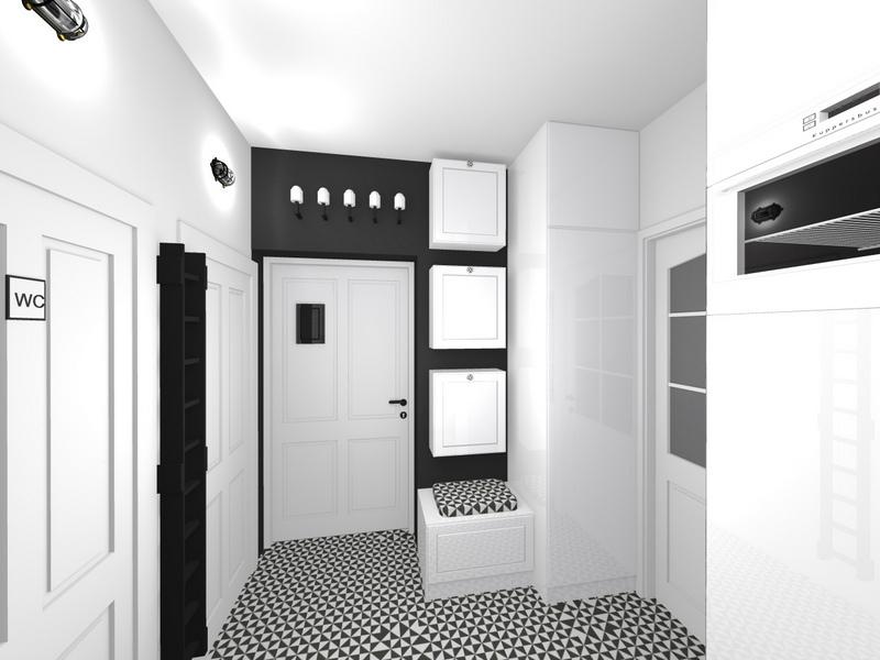 kuchnia czarno - biała, przedpokój czarno - biały, 2 piętro 2