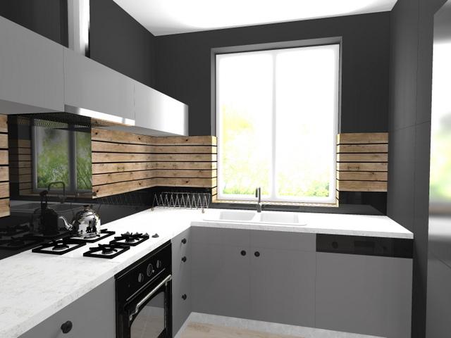 projekty kuchni  2 piętro -> Kuchnia Bialo Szara Z Drewnem