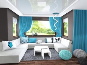 kanapa narożna U, salon turkus, 2 piętro 1