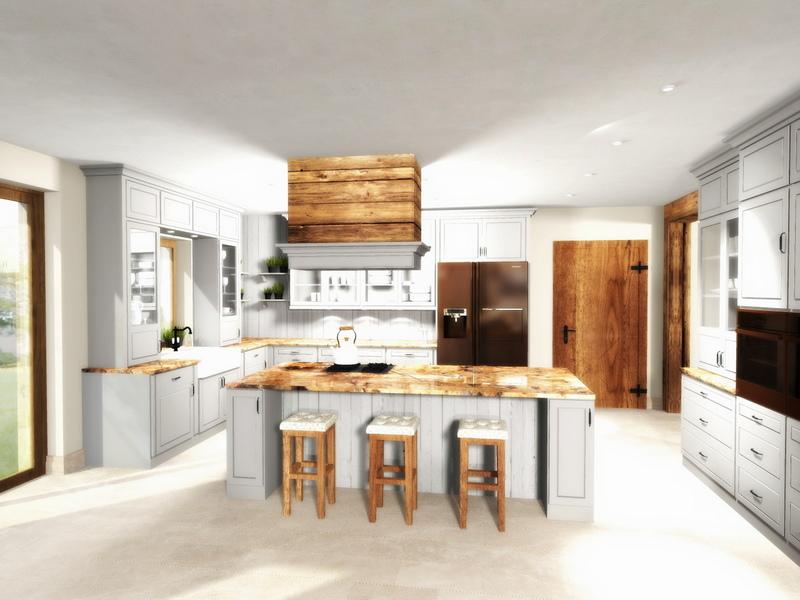 szara kuchnia w stylu klasycznym, przytulna kuchnia, 2 piętro