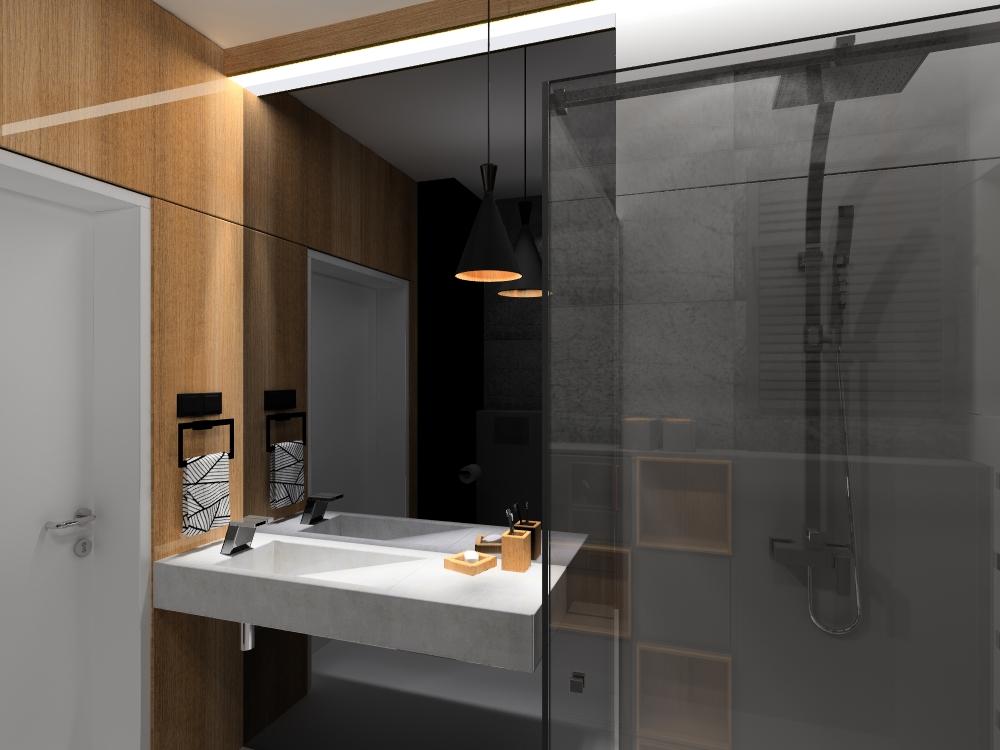 szara łazienka, betonowa umywalka, 2 piętro, 1