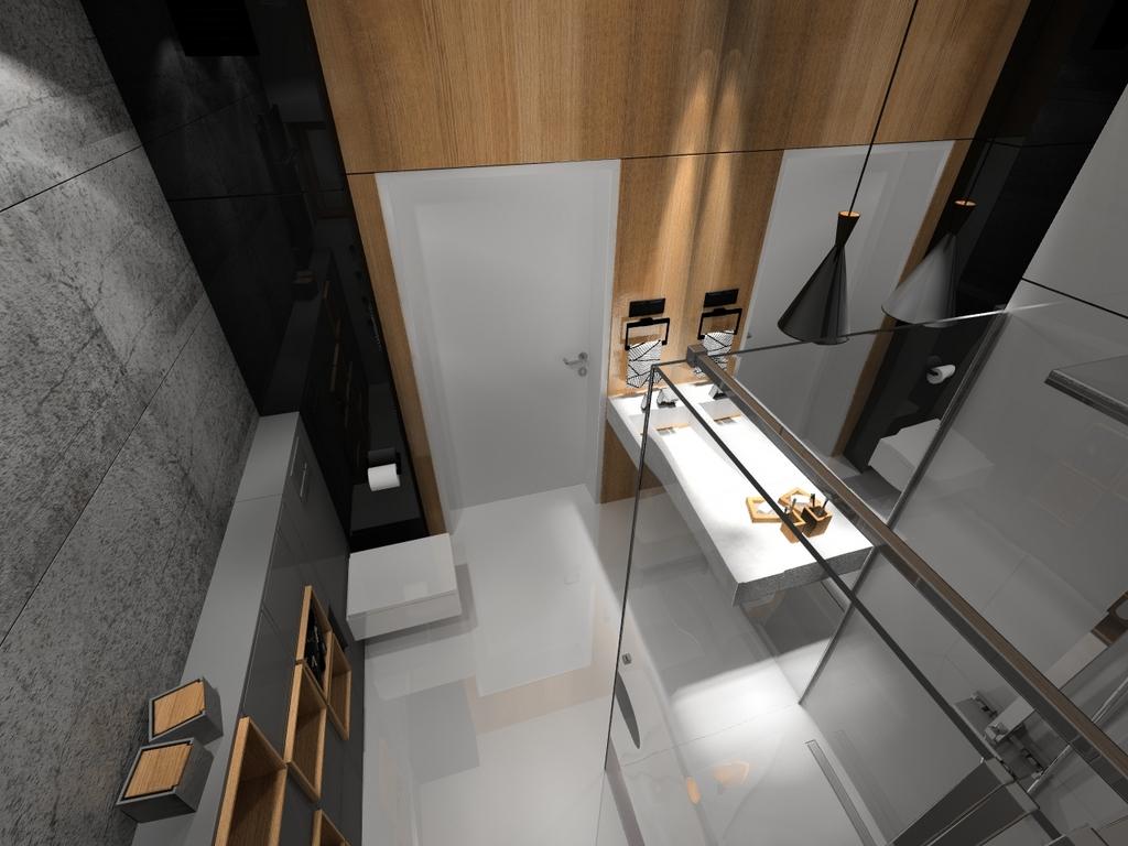 fornir kamienny, betonowa umywalka, 2 piętro, 2