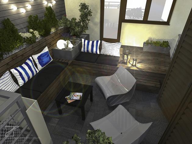 projekt tarasu, niebieski z drewnem 1, 2piętro