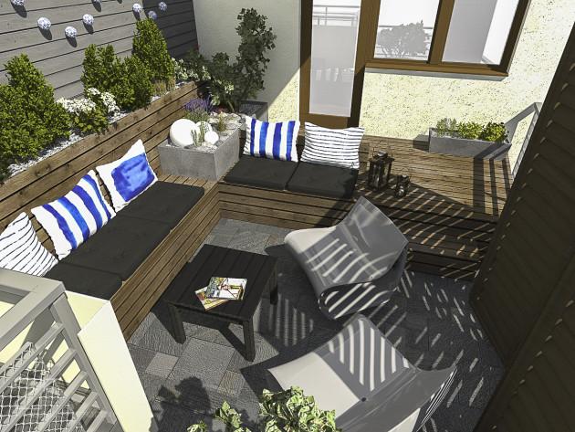projekt tarasu, niebieski z drewnem 2, 2piętro