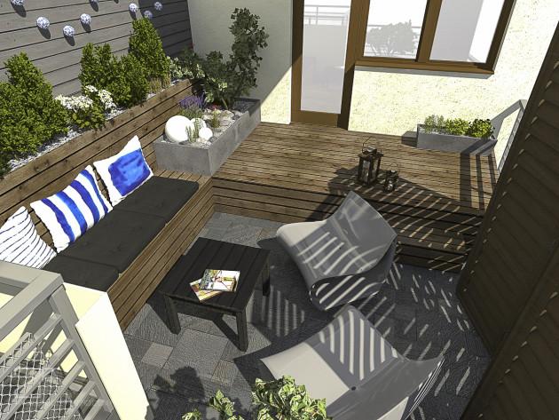 projekt tarasu, niebieski z drewnem 3, 2piętro