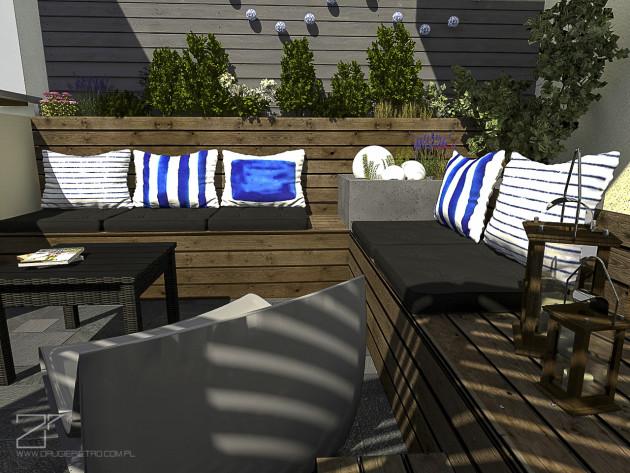 projekt tarasu, niebieski z drewnem 4, 2 piętro