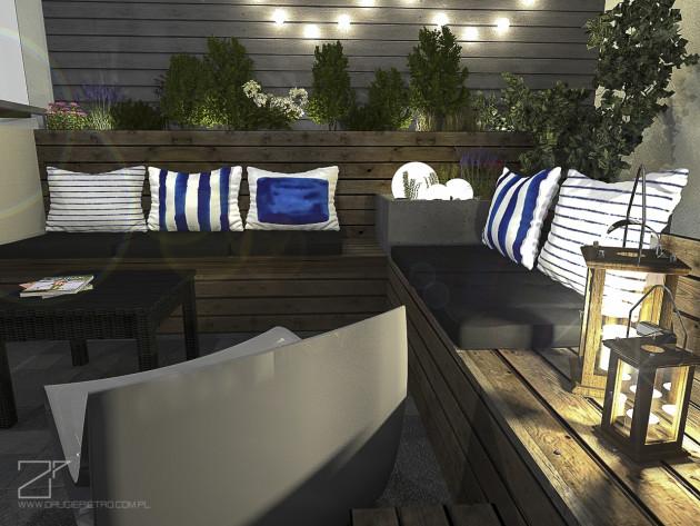 projekt tarasu, niebieski z drewnem 5, 2 piętro