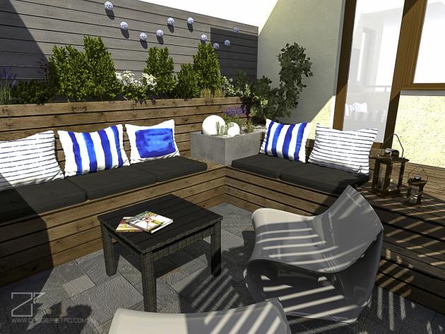 projekt tarasu, niebieski z drewnem 6, 2 piętro