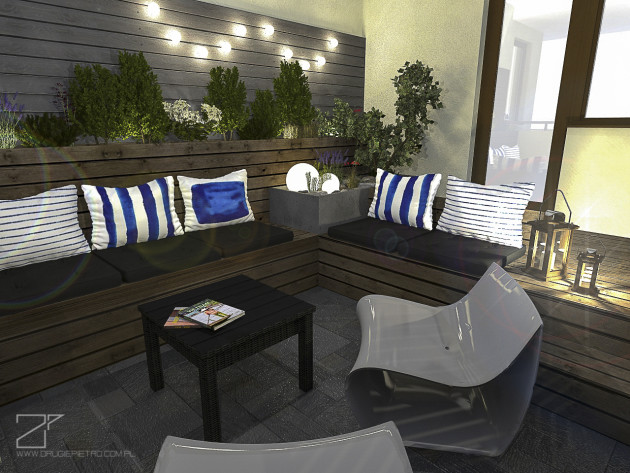 projekt tarasu, niebieski z drewnem 7, 2 piętro