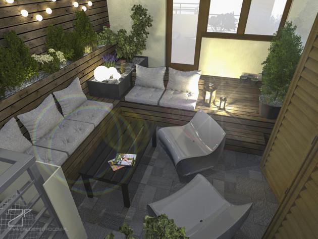 projekt tarasu beż z drewnem 1, 2 piętro