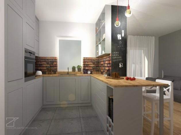szara kuchnia z cegłą, 2 piętro (1)