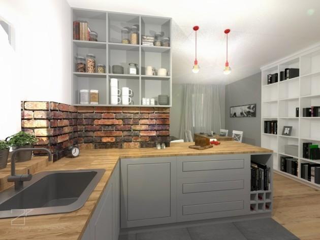 szara kuchnia z cegłą, 2 piętro (3)