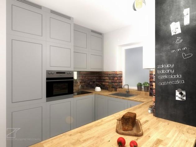 szara kuchnia z cegłą, 2 piętro (4)