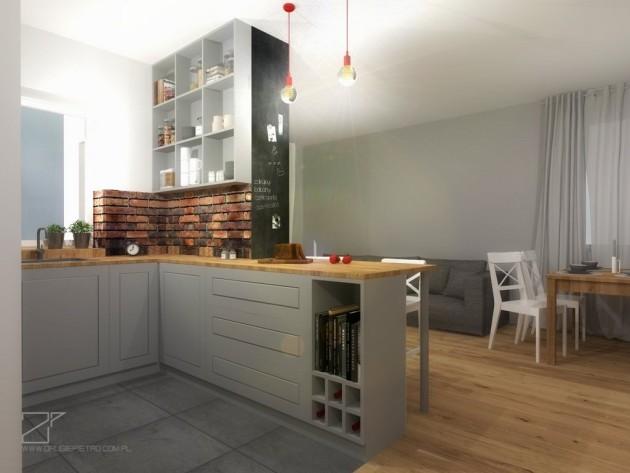 szara kuchnia z cegłą, 2 piętro (5)